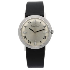 Lucien Piccard 14K White Gold Silver Roman Diamond Dial Hand Wind Ladies Watch