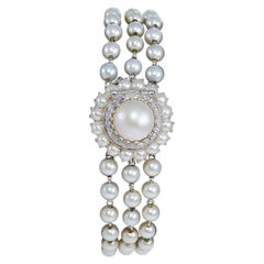 Lucien Piccard 14Kt. Solid White Gold Art Deco Pearl & Diamond Watch, circa 1940