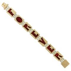 Lucien Piccard 1955 14K Gold Forever Bracelet Rare Vintage Garnet & Pearl 32.1Gr