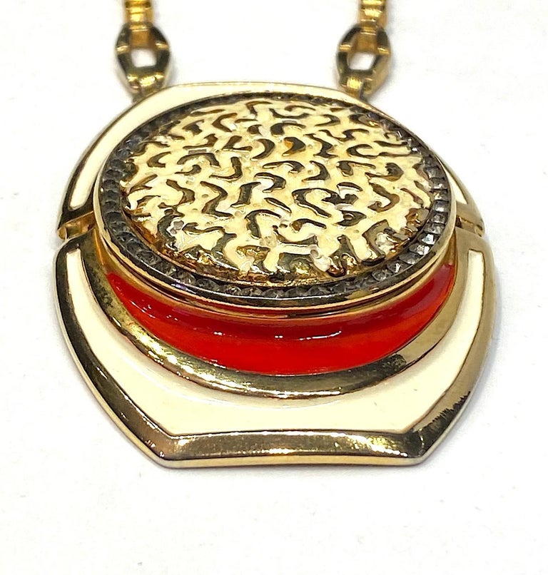 Lucien Piccard 1970s Enamel Pendant necklace For Sale 4