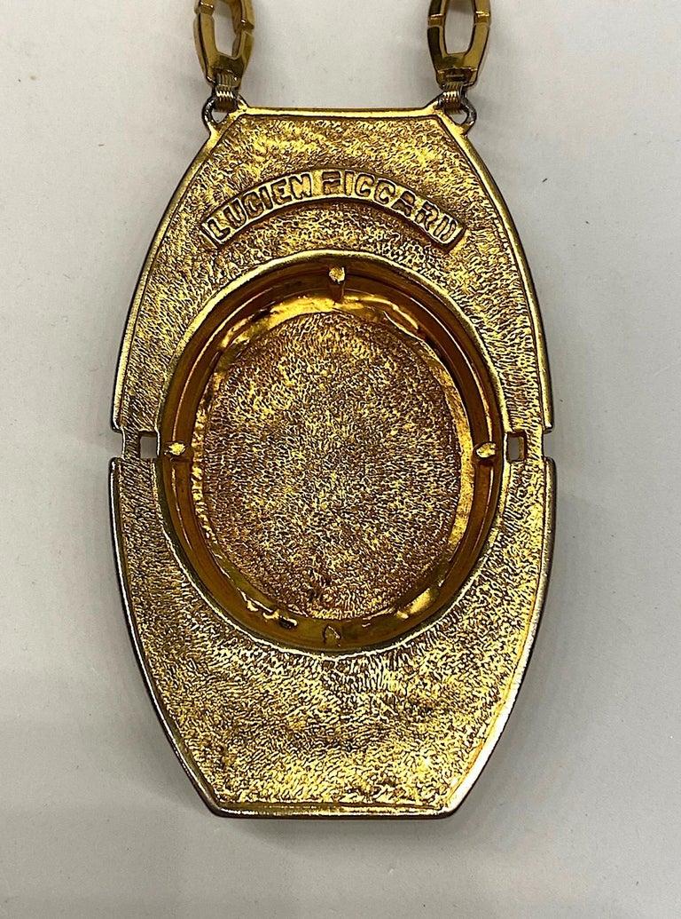 Lucien Piccard 1970s Enamel Pendant necklace For Sale 5