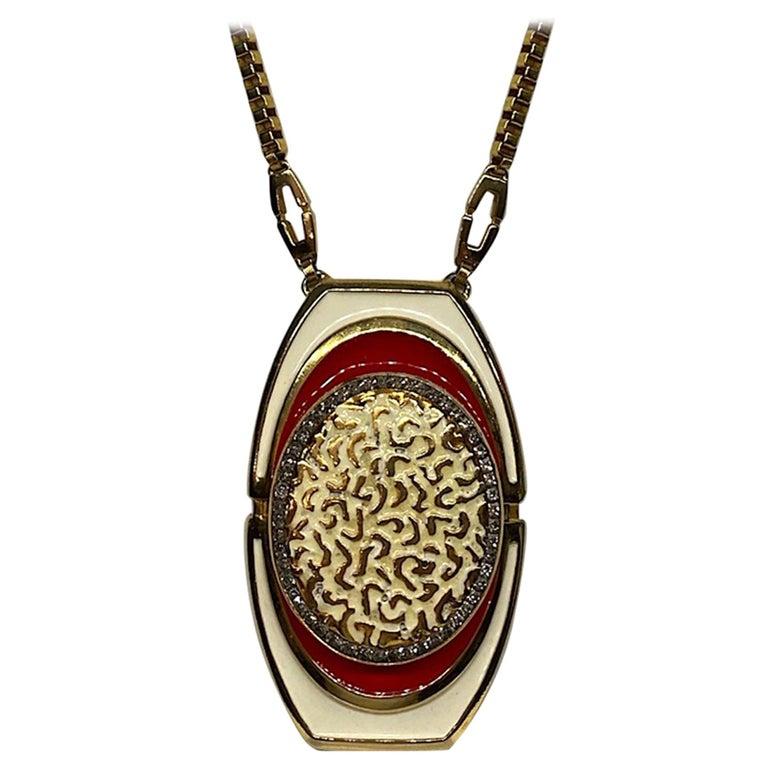 Lucien Piccard 1970s Enamel Pendant necklace For Sale