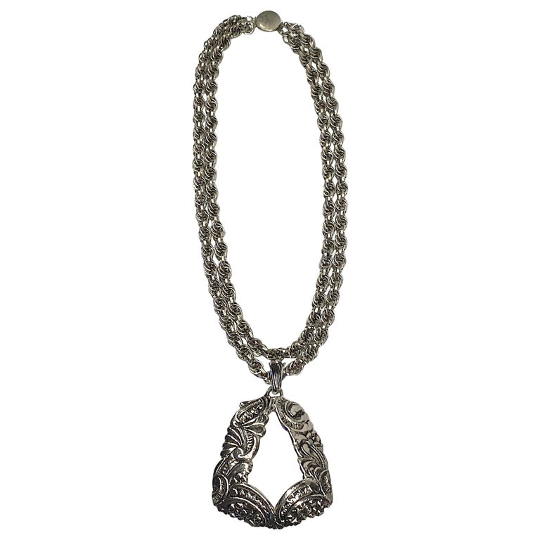 Lucien Piccard 1970s Siver Double Strand Pendant Necklace For Sale