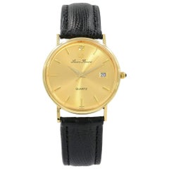 Lucien Piccard 14 Karat Yellow Gold Leather Swiss Quartz Men's Watch