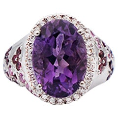 Lucien Piccard Amethyst Pink Sapphire and Diamond Halo Ring, 14 Karat White