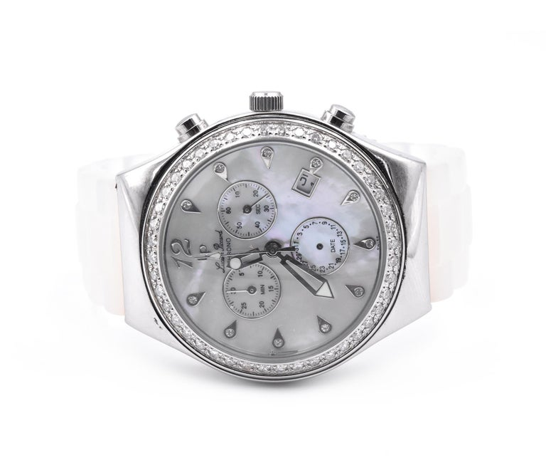 Round Cut Lucien Piccard Ladies Chronograph with Mother of Pearl Diamond Dial and Bezel For Sale