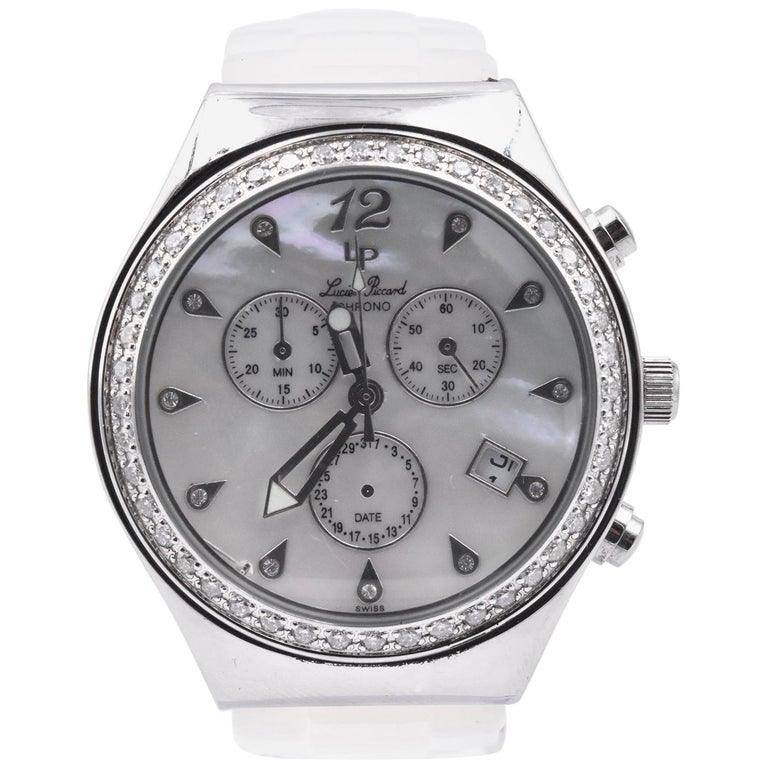 Lucien Piccard Ladies Chronograph with Mother of Pearl Diamond Dial and Bezel For Sale