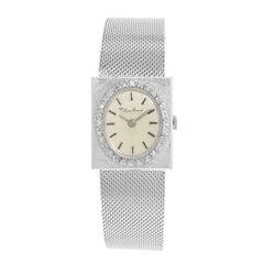 Lucien Piccard Silver Oval Dial Square Face 14 Karat Gold Quartz Ladies Watch