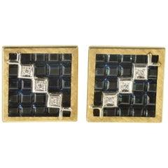 Lucien Piccard Squared Geometric Sapphire Diamond Gold Cufflinks