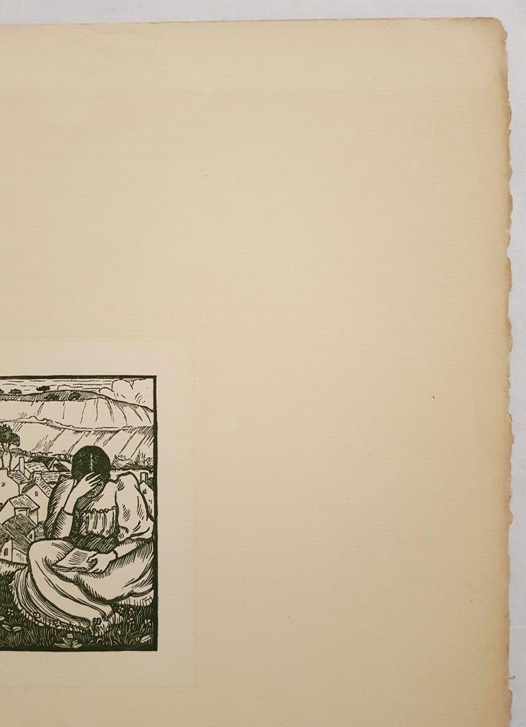 An original color woodcut engraving on laid paper by French artist Lucien Pissaro (1863-1944) titled