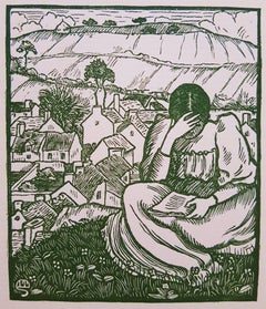 Girl Reading on a Hill