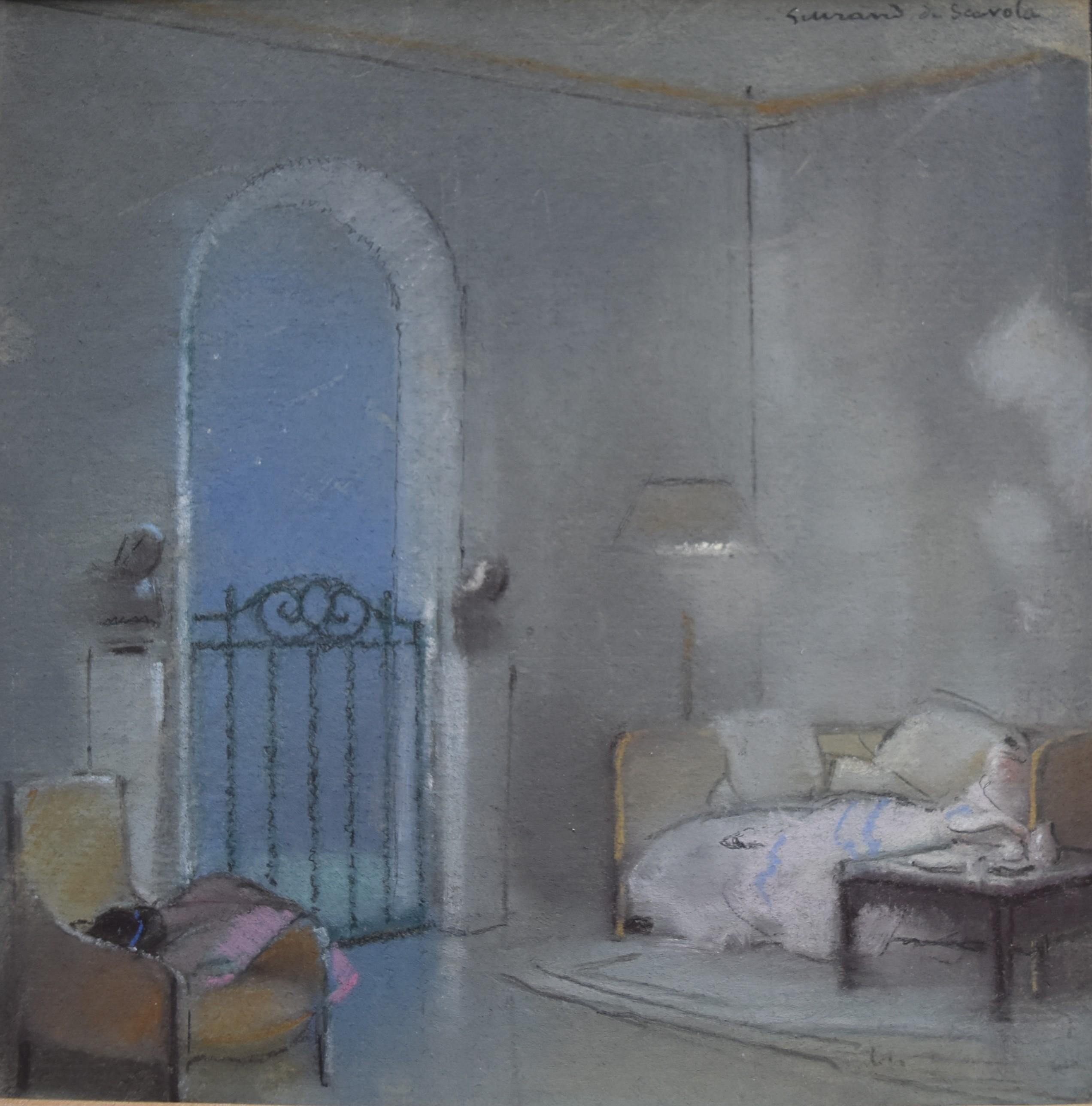 Guirand de Scevola  (1871-1950) A view of an interior, pastel