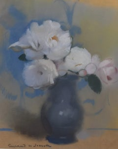 L V Guirand de Scevola (1871-1950) A Bunch of Flowers in a tin pot Signed pastel