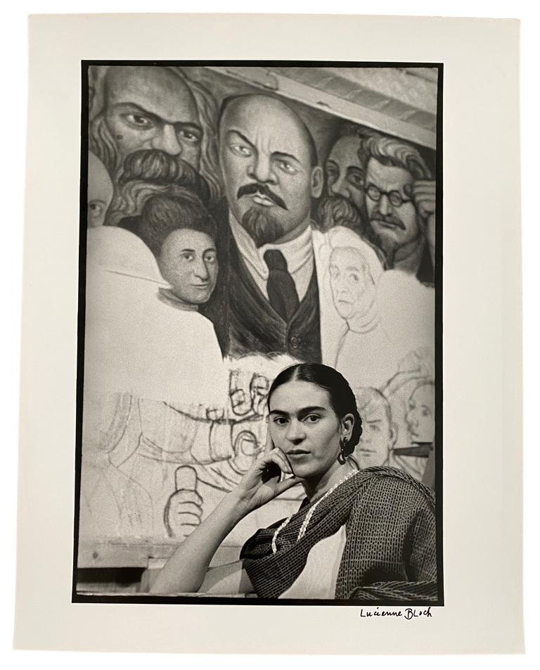 Frida in front of the Unfinished Unity Panel, New Workers School, NY - Modern Photograph by Lucienne Bloch