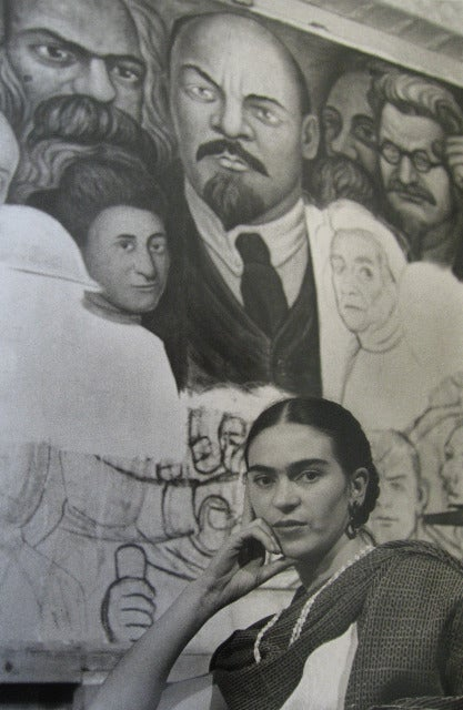 Frida in front of the Unfinished Unity Panel, New Workers School, NY