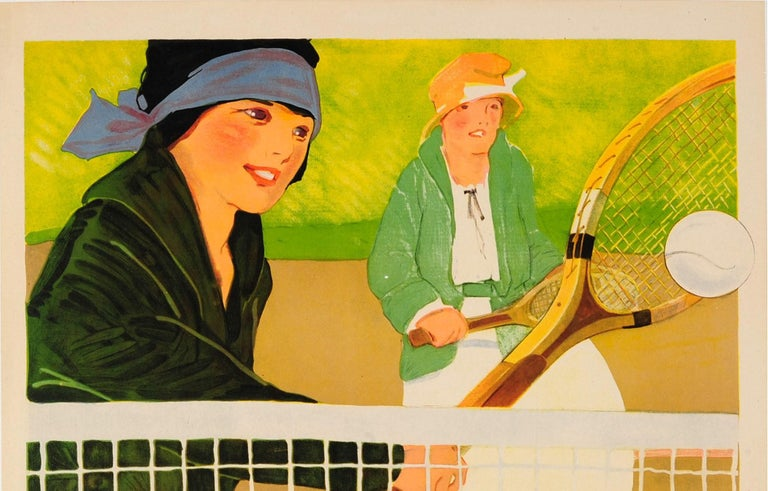 Original Vintage Sport Poster Ft. Tennis - Play The Game - Social Education YWCA - Print by Lucile Patterson Marsh