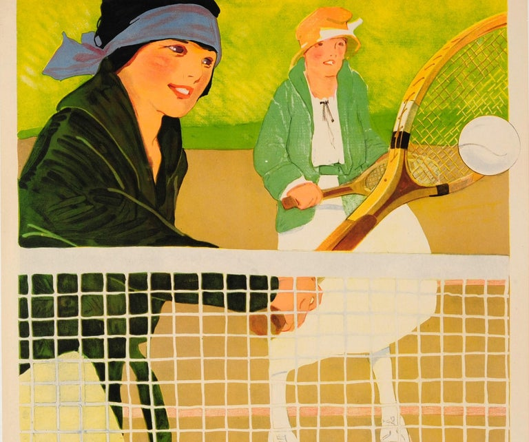 Original Vintage Sport Poster Ft. Tennis - Play The Game - Social Education YWCA - Beige Print by Lucile Patterson Marsh