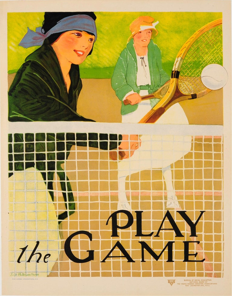 Lucile Patterson Marsh Print - Original Vintage Sport Poster Ft. Tennis - Play The Game - Social Education YWCA