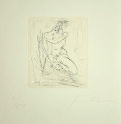 Nude - Original Etching by Lucio Fontana - 1964