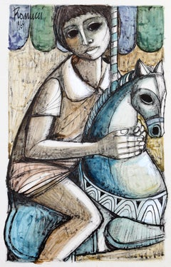 Boy on Carousel, Watercolor by Lucio Ranucci