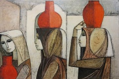 Three Figures (Italian peasant women abstract cubist painting)
