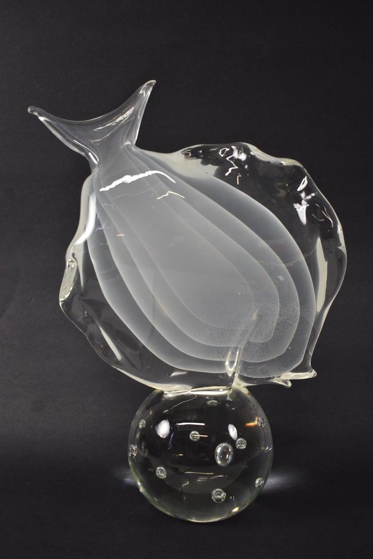 Lucio Zanetti Murano art glass fish sculpture. Measures: 9.75