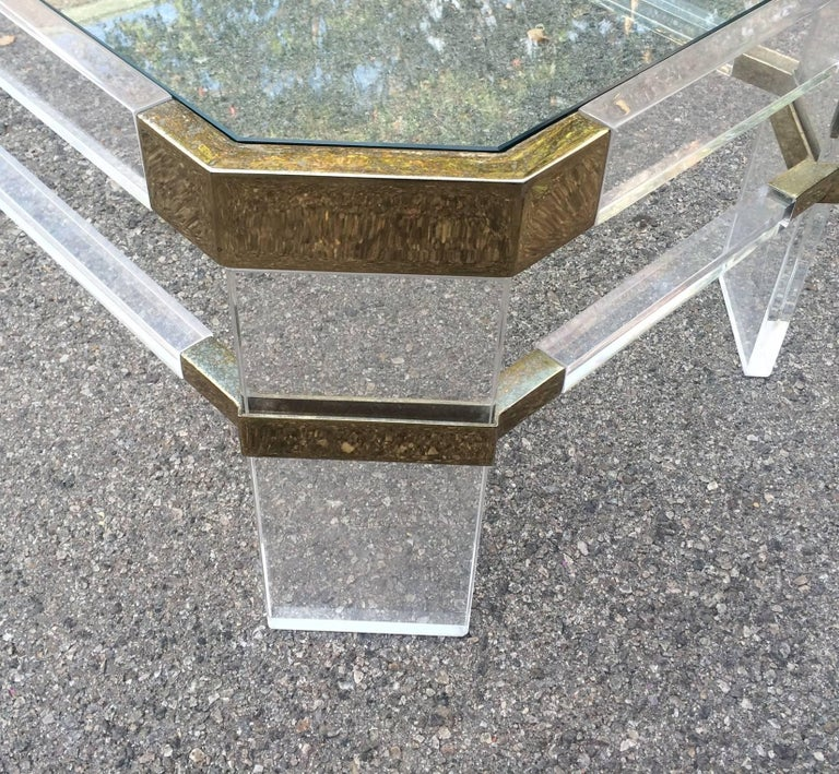 Mid-Century Modern Lucite and Brass Side Tables by Charles Hollis Jones
