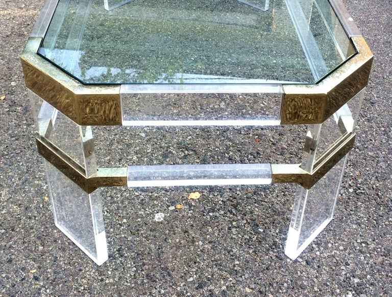 American Lucite and Brass Side Tables by Charles Hollis Jones