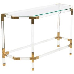 Lucite Acrylic and Brass Console Table in the Style of Charles Hollis Jones