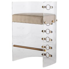 Lucite Acrylic, Brass Detailed and Leather Jetson Glamour Bar Chair