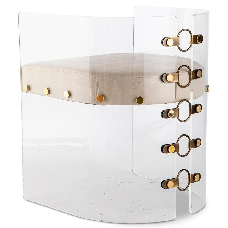 Modern Lucite Acrylic, Brass Detailed and Leather Jetson Glamour Dining Chair For Sale