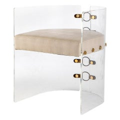 Lucite Acrylic, Brass Detailed and Leather Jetson Glamour Dining Chair
