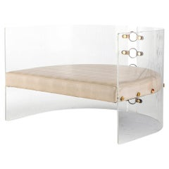 Lucite Acrylic, Brass Detailed and Leather Jetson Glamour Lounge Chair