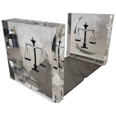 Lucite / Acrylic Law Enameled Scales of Justice Book Ends