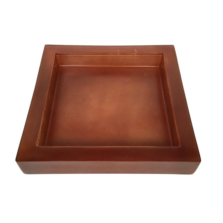 Lucite Acrylic Square Brown Centerpiece Tray, 1970s, Italy 5