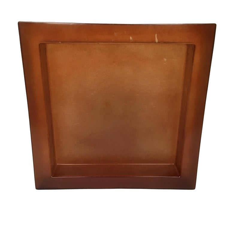 Lucite Acrylic Square Brown Centerpiece Tray, 1970s, Italy 8