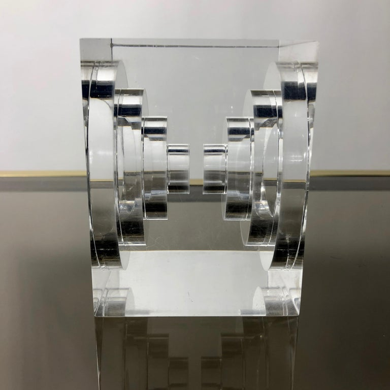 Italian Lucite Acrylic Square Sculpture by Team Guzzini, Italy, 1970s Spiral Geometry For Sale