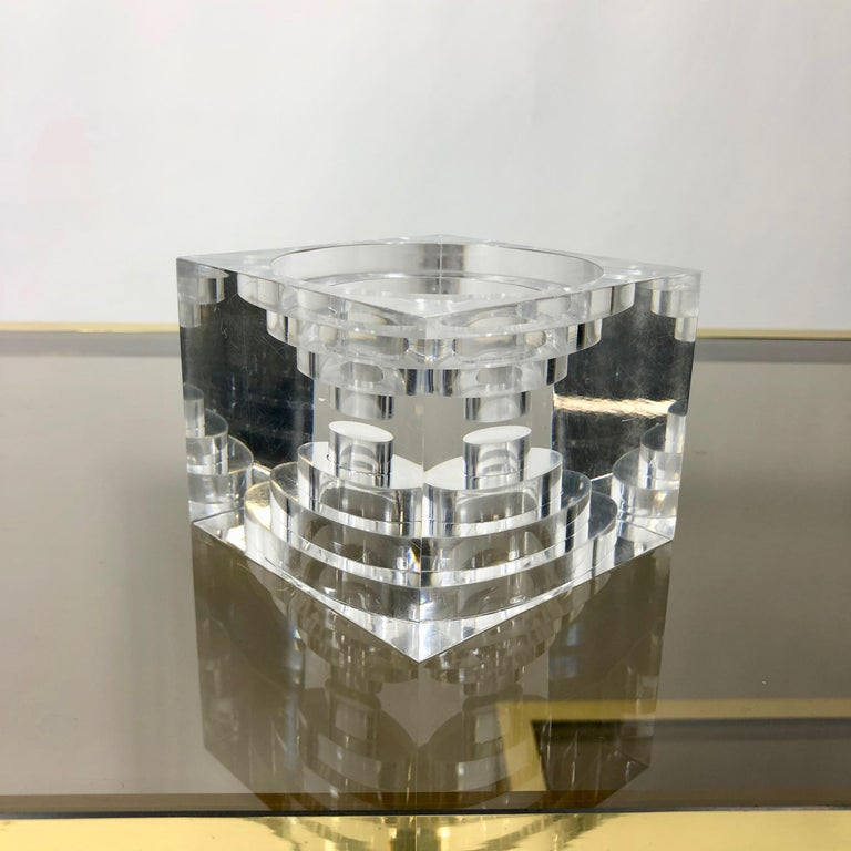 Late 20th Century Lucite Acrylic Square Sculpture by Team Guzzini, Italy, 1970s Spiral Geometry For Sale