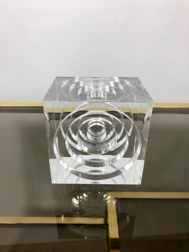 Resin Lucite Acrylic Square Sculpture by Team Guzzini, Italy, 1970s Spiral Geometry For Sale