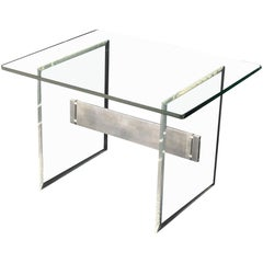 Lucite Aluminum Base Glass Top Mid-Century Modern Studio Made Side Table