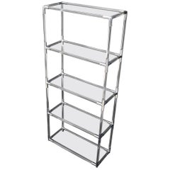 Lucite and Aluminum Mid-Century Modern 5-Tier Etagere Vitrine Shelving Unit