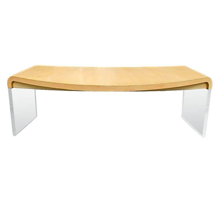 Lucite and Ash Wood Crescent Desk by Vladimir Kagan