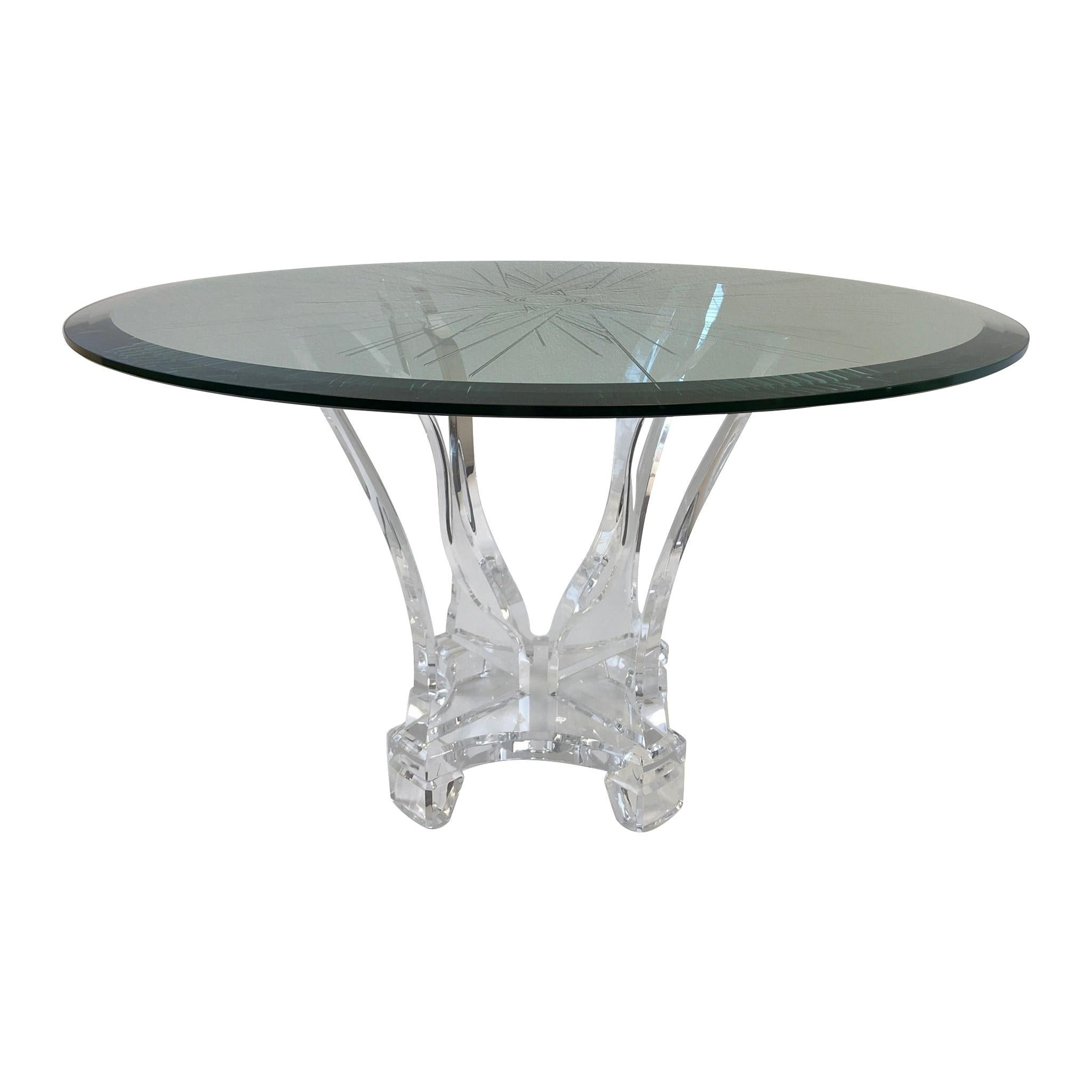 Lucite and Beveled Glass Dining Table by Lion in Frost