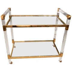 Lucite and Brass Bar Cart