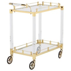 Lucite and Brass Bar Cart, Spain, 1970s