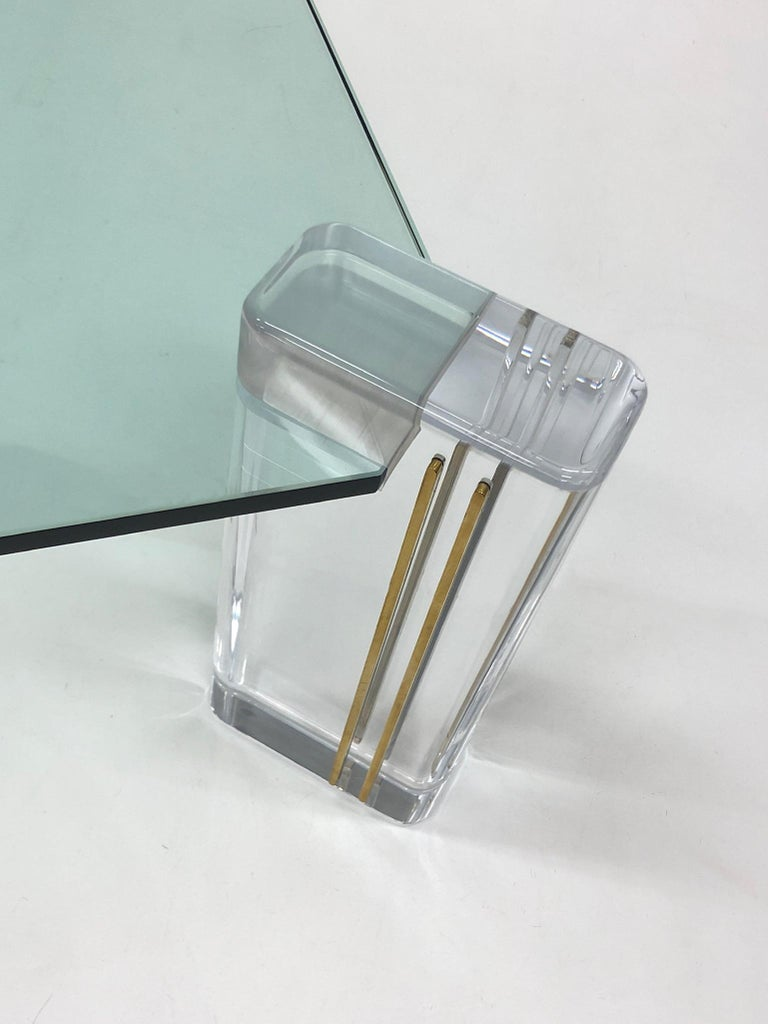 Lucite and Brass Cocktail Table by Karl Springer In Excellent Condition For Sale In Palm Springs, CA
