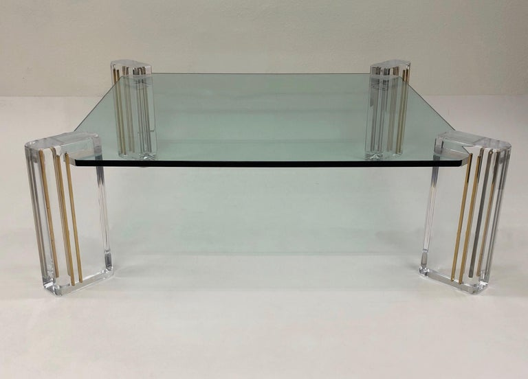Lucite and Brass Cocktail Table by Karl Springer For Sale 1