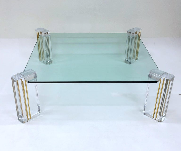 Lucite and Brass Cocktail Table by Karl Springer For Sale 2