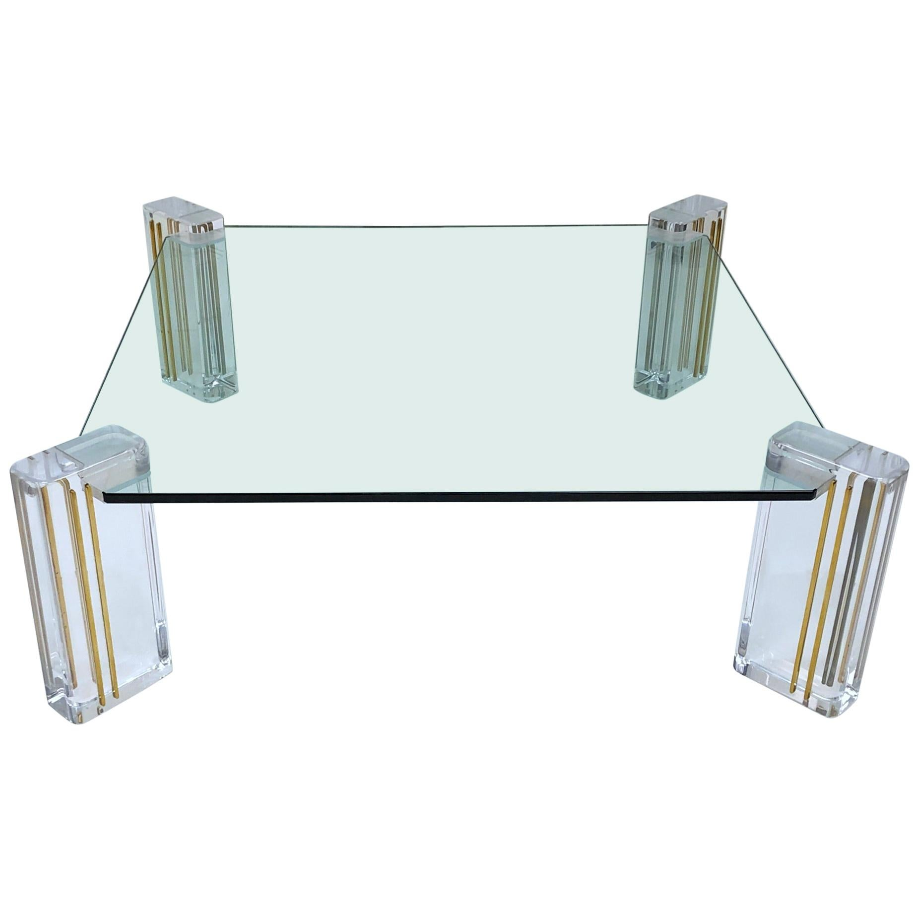 Lucite and Brass Cocktail Table by Karl Springer