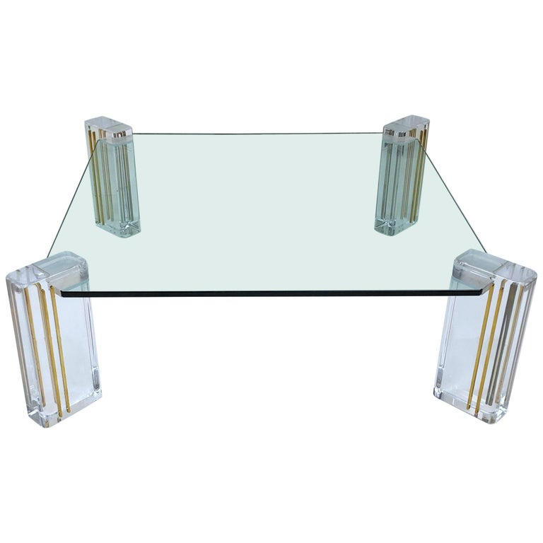 Lucite and Brass Cocktail Table by Karl Springer For Sale